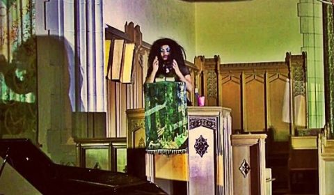 Drag Musical Cycle 4: Eat Pray Love, Bloor United Church, 2014 . Patrick Salvani in photo.